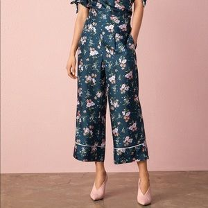 REBECCA TAYLOR WIDE LEG EMILIA SILK BLEND PANTS